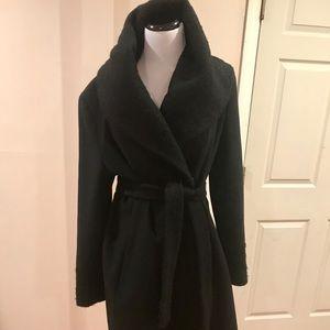 Calvin Klein wool blend bouclé hi collar wrap coat